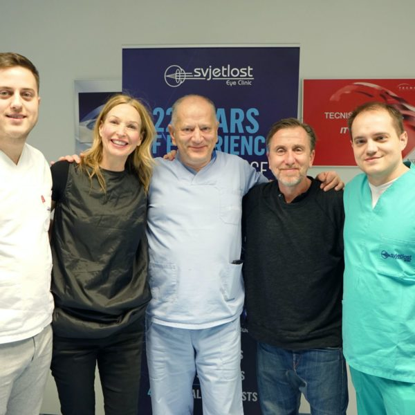 Tim Roth and dr. Nikica Gabrić with the team of Svjetlost Eye Clinic