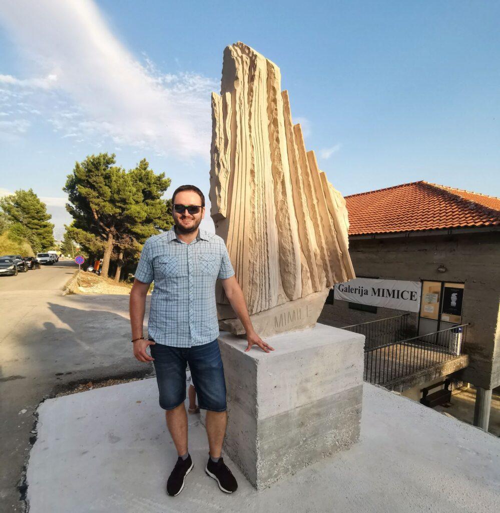 Mate Turić and his stone sailboat at Mimice, Croatia, photo by Mate Turić archives